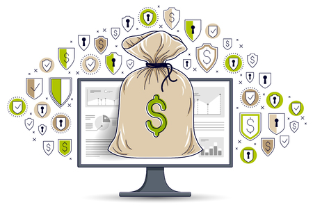 Money bag over computer monitor and shield icons set, online banking or bookkeeping data protection concept, internet electronic money safety, savings, vector design.
