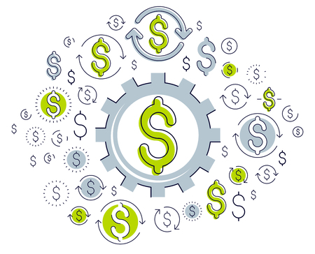 Economy system and business concept, gear mechanism with dollar signs and icon set, allegory design of systematic business and financial activity, vector illustration.