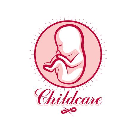 Vector embryo emblem. New life beginning drawing. Medical center for pregnancy assistance conceptual symbol Illustration