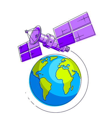 Satellite flying  flight around earth, communication technology spacecraft space station with solar panels and satellite antenna plate.