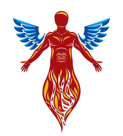 Vector graphic illustration of strong male, body silhouette created with bird wings. Reborn from flame idea. Illustration