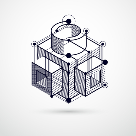 Abstract modern retro black and white 3D background, geometric futuristic shapes vector illustration. Abstract scheme of engine or engineering mechanism.