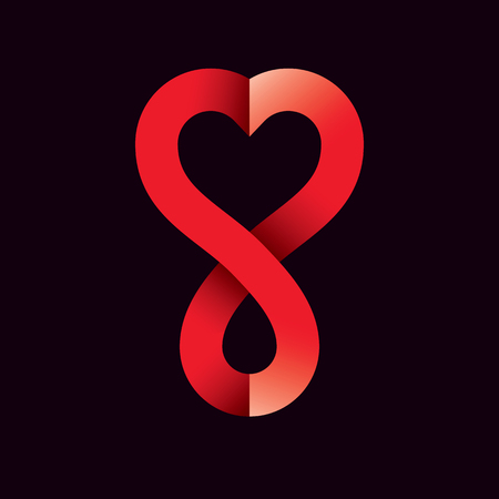 Vector illustration of heart shape, drops of blood and symbol of limitless.