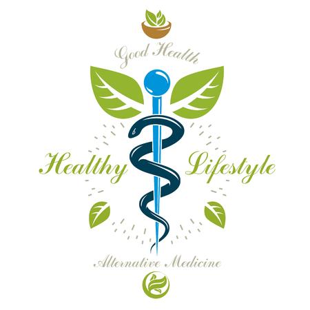 Pharmacy Caduceus icon, vector medical logo for use in holistic medicine, rehabilitation or pharmacology