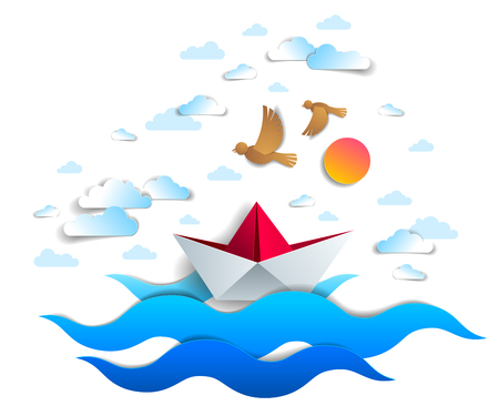 Paper ship swimming in sea waves, origami folded toy boat floating in the ocean with beautiful scenic seascape with birds and clouds in the sky