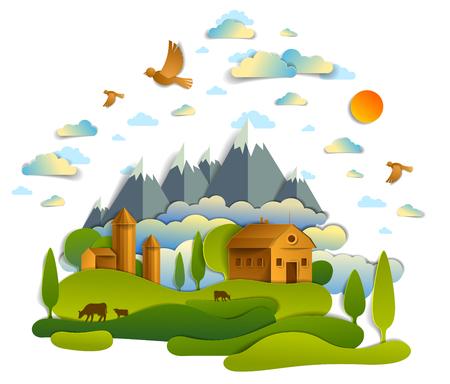 Fattoria nel paesaggio panoramico di campi e alberi, cime montuose ed edifici di campagna, uccelli e nuvole nel cielo, ranch di latte di mucca, illustrazione vettoriale di campagna pigra estate in stile taglio carta. Vettoriali
