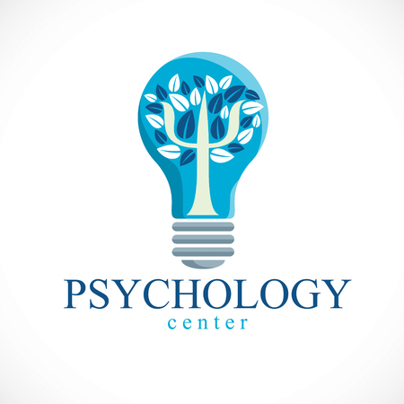 Psychology concept created with Greek Psi symbol as a tree with leaves inside of idea light bulb