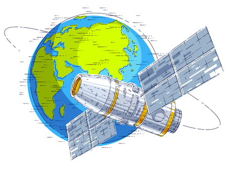 Space station flying  flight around earth, spacecraft spaceship  with solar panels, artificial satellite. Illustration
