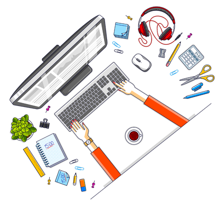 Office employee or entrepreneur work desk workplace with hands and PC computer and diverse stationery objects for work, top view. All elements are easy to use separately. Vector illustration. Vetores