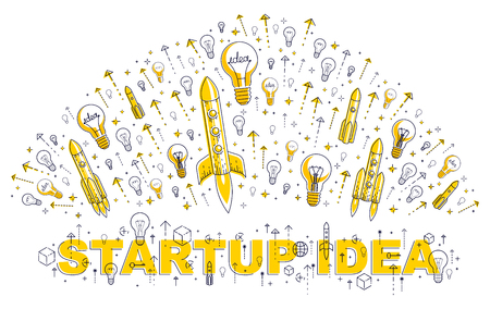 Startup rockets take off, space rockets flying start up business concept, vector illustration.