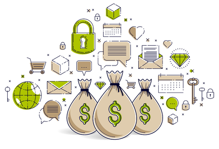 Money bag and icon set vector design, savings or investments concept, online payments, marketplace or shop. Illustration