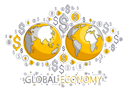 Global economy concept, planet earth with dollar icons set, international business, currency exchange, internet global network connection, vector, elements can be used separately.
