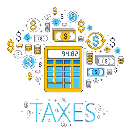 Calculator taxes and accounting concept surrounded by financial icon set
