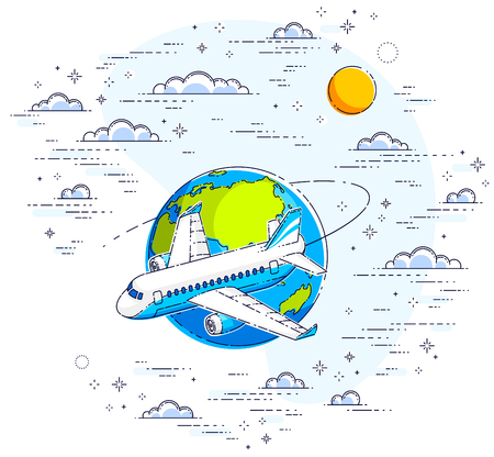 Plane airliner with earth planet in the sky surrounded by clouds, airlines air travel illustration. Beautiful thin line vector isolated over white background. Illustration