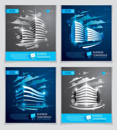 Futuristische Gebäudeanzeigen eingestellt, moderne Vektorarchitekturbroschüren mit unscharfem Lichteffekt. Blaue Designs des Immobilien-Immobilien-Geschäftszentrums. 3D-Vorlagen für futuristische Fassadengeschäftskonferenzen.