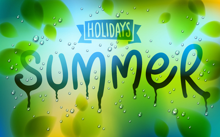 Summer word drawn on a window, fresh green leaves and water rain drops or condensate macro, vector 3d realistic transparent illustration, summertime nature beautiful art. Reklamní fotografie - 116950371