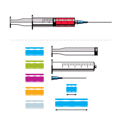 Vector illustration of disposable syringe created as constructor with separate elements. Get your flu shot marketing theme