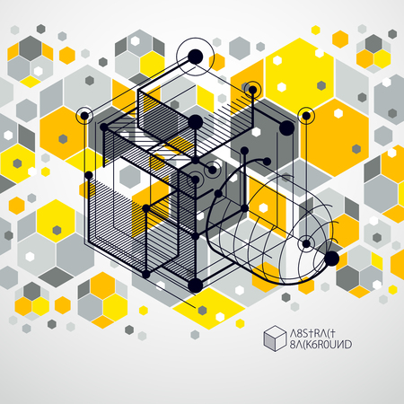Lines and shapes abstract vector isometric 3D yellow background. Abstract scheme of engine or engineering mechanism. Layout of cubes, hexagons, squares, rectangles and different abstract elements.