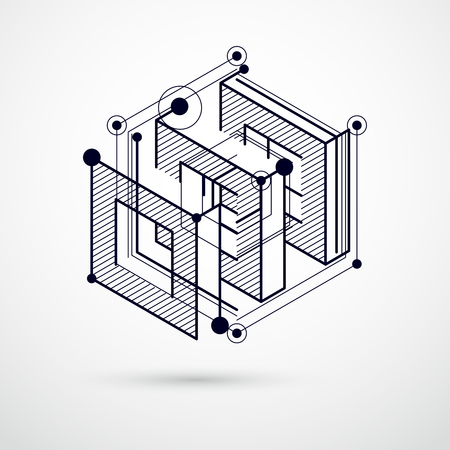 Abstract vector geometric 3D elements in futuristic style black and white template composition. Technical plan can be used in web design and as wallpaper or background.