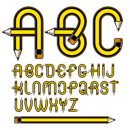 Set of vector capital alphabet letters isolated made with pencils, creative writing idea. Illustration