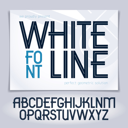 Set of vector upper case English alphabet letters created with white stripes, for use in  design for news and broadcasting company
