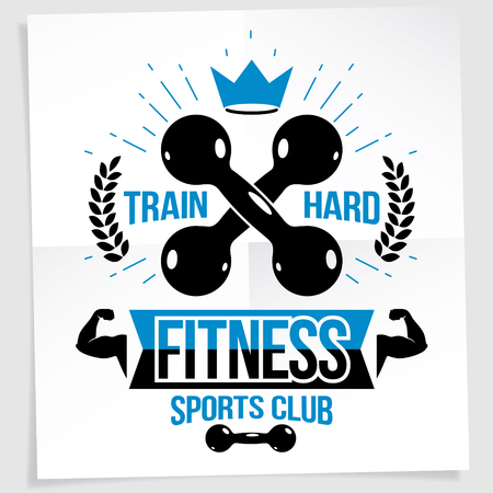 Cross fit vector motivation poster. Train hard lettering.