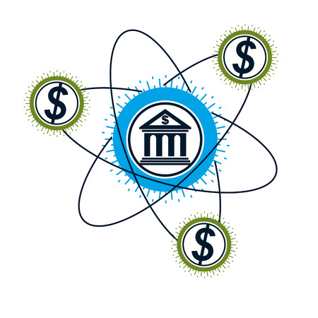 Banking and Finance conceptual symbol, unique vector symbol. Banking system. The Global Financial System. Circulation of Money. Illustration