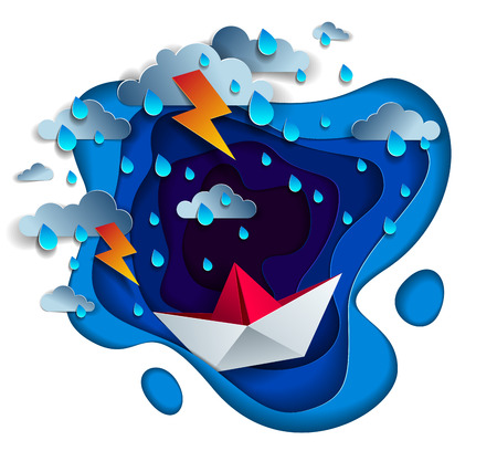 Origami paper ship toy swimming in thunderstorm with lightning, dramatic vector illustration of stormy rainy weather over ocean with toy boat struggles to survive. Illustration
