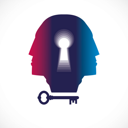 Psychology and mental health concept, created with double man head profile and keyhole, psychoanalysis as a key to human nature, individuality and archetype shadow.