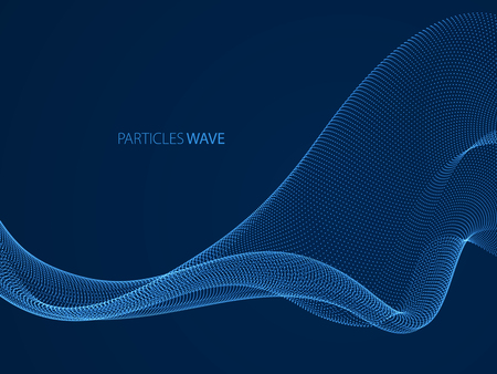 Wave of flowing particles over dark modern relaxing illustration. Round shining dots vector abstract background. Beautiful wave shaped array of blended points.  イラスト・ベクター素材