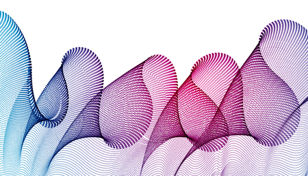Wave of flowing particles modern relaxing illustration, transparent tulle textile on wind. Round dots vector abstract background. Beautiful wave shaped array of blended points.  イラスト・ベクター素材