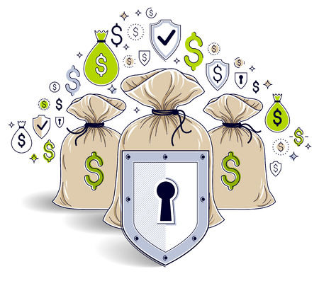 Shield over money bags, savings insurance, safe business, financial protection concept, investments credits and deposit banking idea, vector design. Illustration