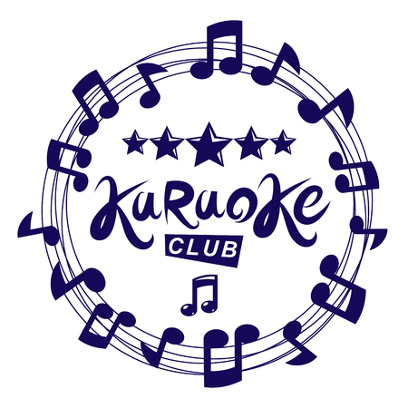 Karaoke club vector background composed with circular musical notes sheet. Can be used as nightlife entertainment concept for advertising poster. Stock Illustratie