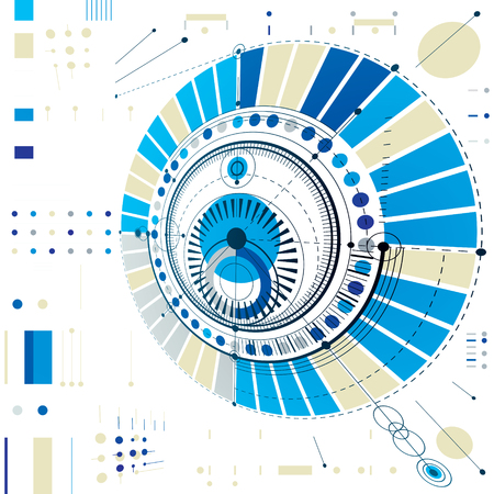 Dimensional abstract circular mechanical scheme, 3d technological pattern. Vector industrial and engineering background. Ilustração