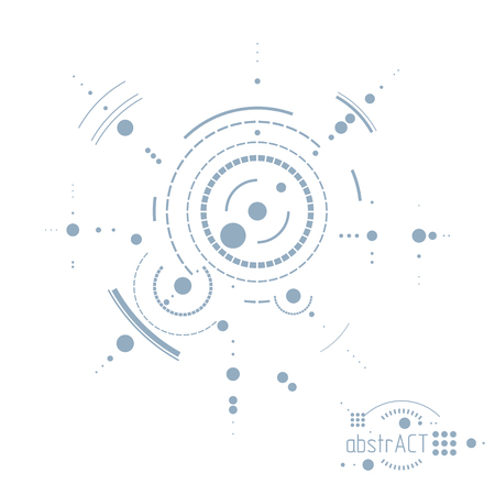 Engineering technology vector wallpaper made with circles and lines. Technical drawing abstract background. Imagens - 124973688