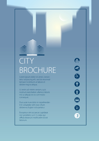 Simple minimalistic city skyline traveling tourist guide book. Brochure, flyer, cover, poster or guidebook template. Vector modern illustration.