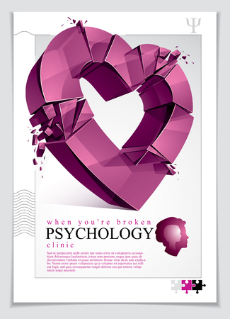 Breakup concept of Broken heart, 3D realistic vector illustration of heart symbol exploding to pieces, flyer or brochure for psychology clinic, consultation and therapy. Creative idea breaking love. Çizim
