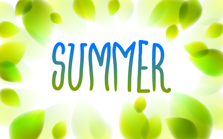 Summer word drawn on a window, fresh green leaves blurred background, vector realistic illustration, summertime nature beautiful art.