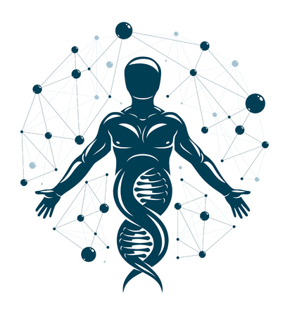 Athletic man vector illustration made using DNA symbol and futuristic molecular connections. Human as the object of biochemistry research, genetic engineering. Stock Vector - 124973702