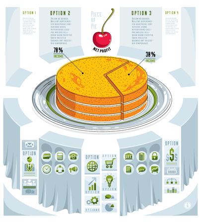 Creative infographics elements, piece of pie idea, vector illustration.  イラスト・ベクター素材
