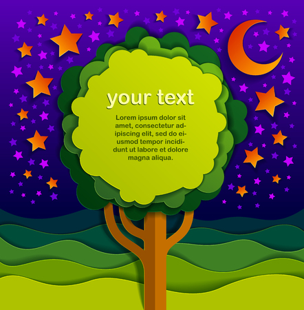 Tree with copy space for text in the night in the field scenic nature landscape cartoon modern style paper cut vector illustration.