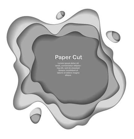 Abstract grey paper cutout curvy shapes layered, vector illustration in paper cut style. layout for business card, presentations, flyers or posters. Ilustração