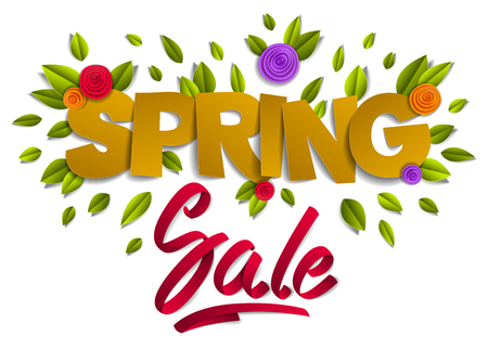 Spring sale banner advertising, papercut and ribbon words with flowers and leaves vector modern style cartoon paper cut 3d illustration. Ilustração