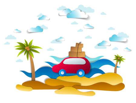 Car travel and tourism, red minivan with luggage riding sea shore with palms and waves, clouds in sky, paper cut vector illustration of auto in scenic seascape. Beach summer holidays. Stockfoto - 117595261