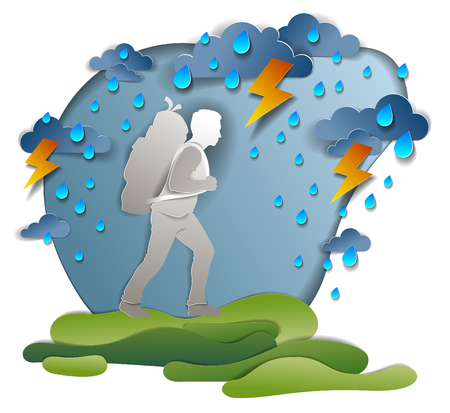 Hiker man walking through thunderstorm and rain, motivation, survival test. Vector illustration of stormy weather with hiking guy carrying backpack. Holidays and vacations. Illustration