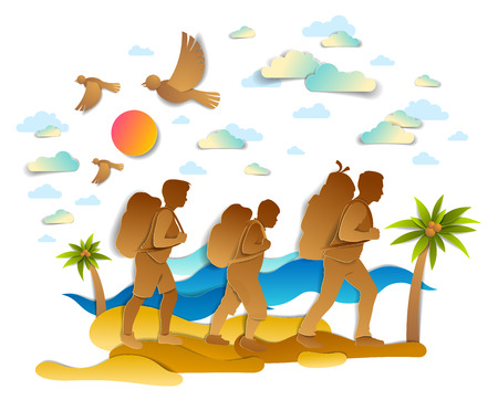 Happy active family hiking through sea beach with palms and sea waves in background, birds in the sky. Father mother and son hikers having time of retreat in nature, summer holidays, vector.