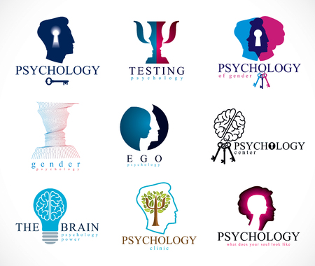 Psychology, human brain, psychoanalysis and psychotherapy, relationship and gender problems, personality and individuality, cerebral neurology, mental health. Vector icons or logos set. Stock Vector - 117595269