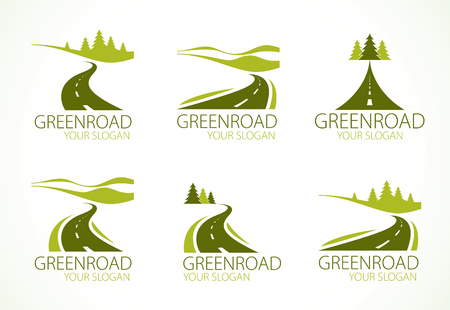 Country roads curved highways vector perfect design illustrations or logos set. The way to nature, trees and forest and hills, camping and tourism travel theme. Useful as a road banner or billboard. Imagens - 117595275