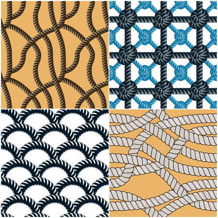 Seamless patterns rope woven vectors set, abstract illustrative backgrounds collection. Endless navy illustrations with fishing net ornament and marine knots. Usable for fabric, wallpaper, wrapping, web and print. Imagens - 124973730