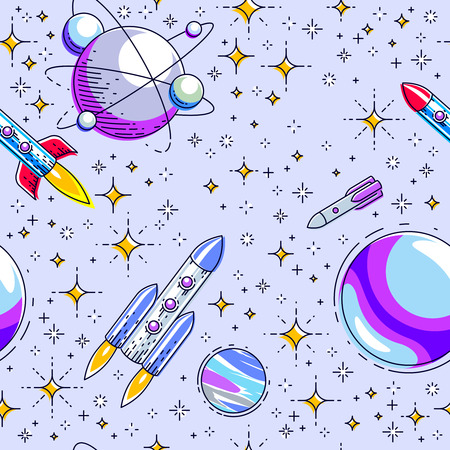 Seamless space background with rockets, planets and stars, undiscovered deep cosmos fantastic and breathtaking textile fabric for children, endless tiling pattern, vector illustration cartoon motif. Imagens - 124973731
